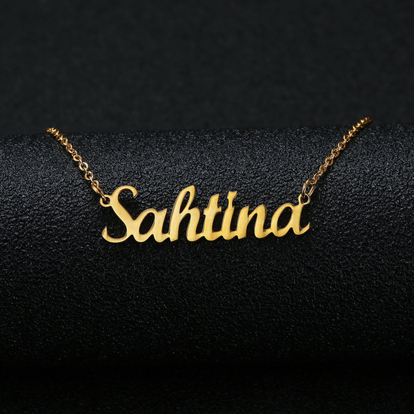 top popular Gold Silver Color Personalized Custom Name Pendant Necklace Customized Cursive Nameplate Necklace Women Handmade Birthday Gift 2021