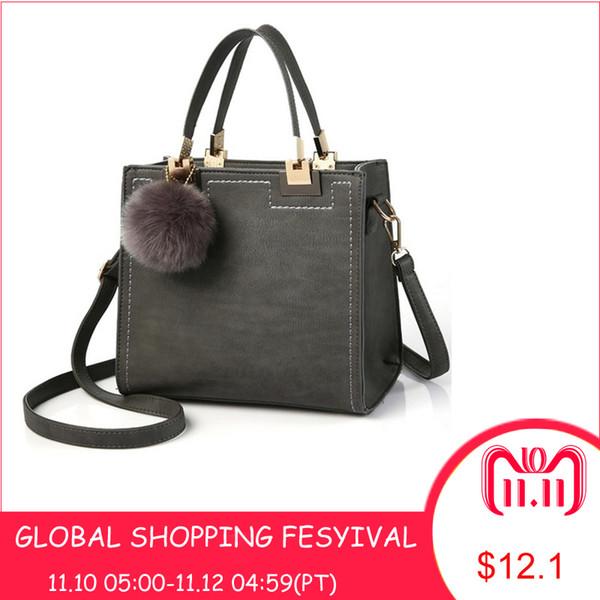 2019 Fashion Hot Handbag Women Casual Tote Bag Female Large Shoulder Messenger Bags High Quality PU Leather Handbag With Fur Ball Sac a main