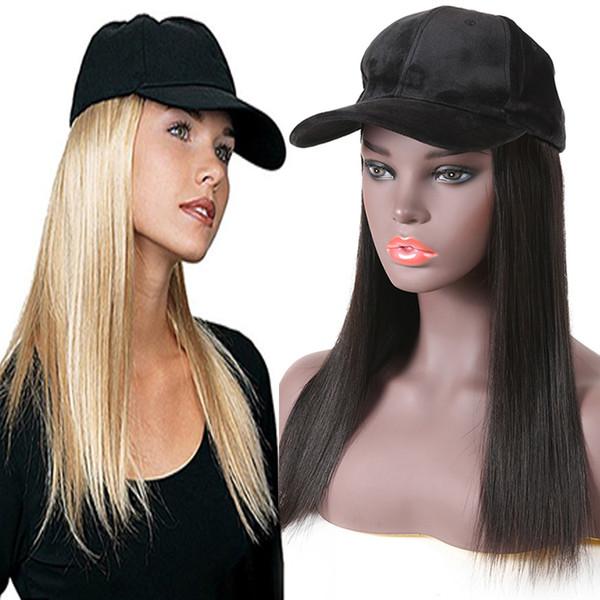 Sombrero recto negro Pelucas de cabello humano para las mujeres negras Pelucas brasileñas del cordón del pelo de Virgin con el casquillo Moda Nueva llegada