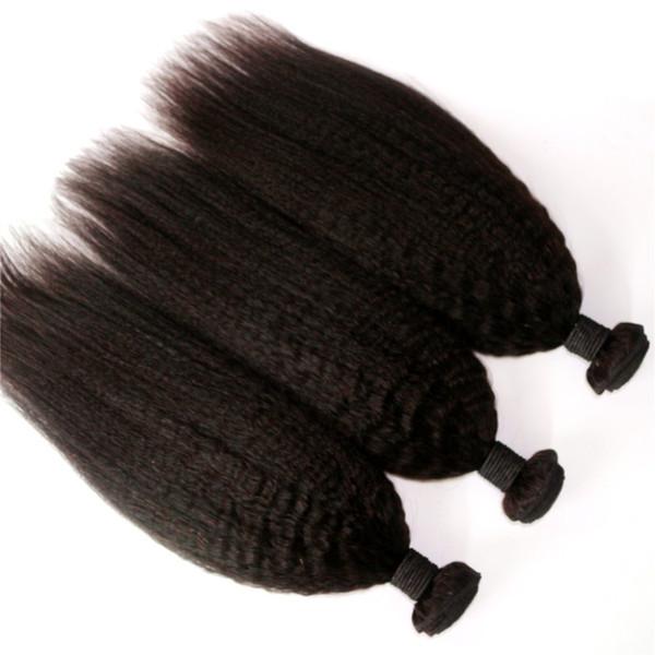 Kinky Straight 10-24inch 3 or 4pcs/lot Brazilian Human Virgin Hair Weave Natural Color Malaysian Indian Peruvian Human Hair Extension