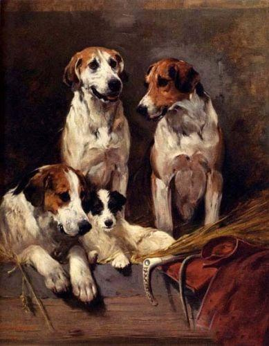 Dream-art Hand painted & HD Print Animal Art Oil Painting lovely dogs Three Hounds With A Terrier,High Quality Canvas Multi Size