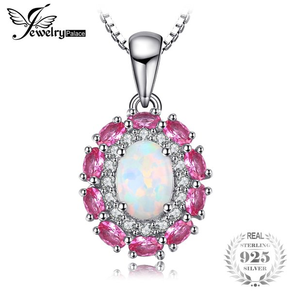 JewelryPalace 0.9ct Created Opal Inlay Pink Sapphire Pendant For Women 925 Sterling Silver Wedding Jewelry Not Include the Chain S18101308