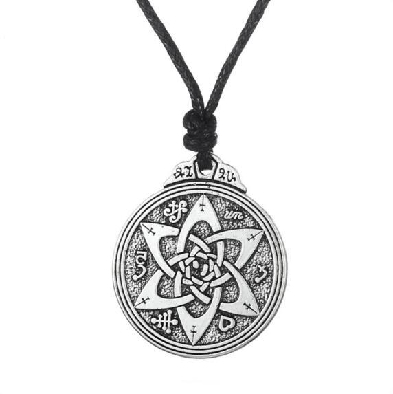 Apricot Fu Flower Of Life Wiccan Pentacle Star Black Wood Amulet Charm Necklace Rope Chain Jewelry