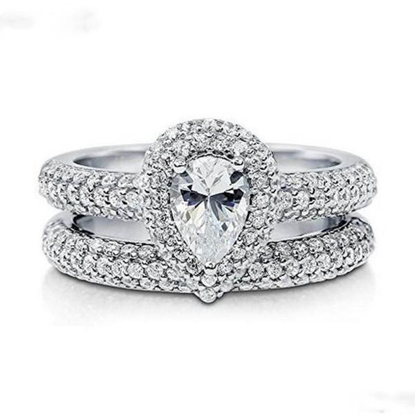Роскошные обещание обручальные кольца Кольцо набор стерлингового серебра 925 алмаз камень обручальные кольца для женщин палец ювелирные изделия подарок
