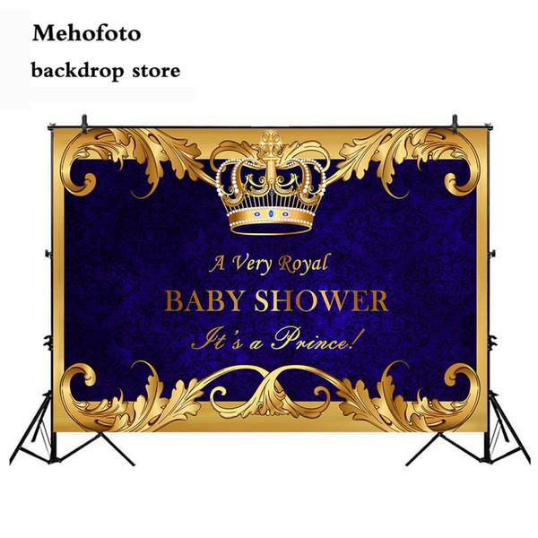 En gros Bébé Shower Party Royal Prince Bébé Douche Toile de Fond Garçon Or Couronne Photographie Fond Royal Blue Backdrops 937