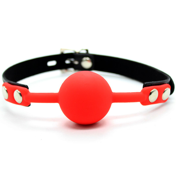 PU Leather head bondage SM open mouth gag restraint 40mm red silicone ball adult fetish oral sex game toy for women men couple Y18102405