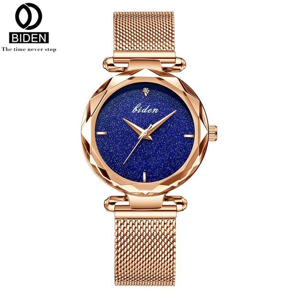 Biden Brand Luxury Women's Bracelet Watches Rose Gold Purple Black Steel Quartz Ladies Clock Fashion Dress Analog Wrist Watch
