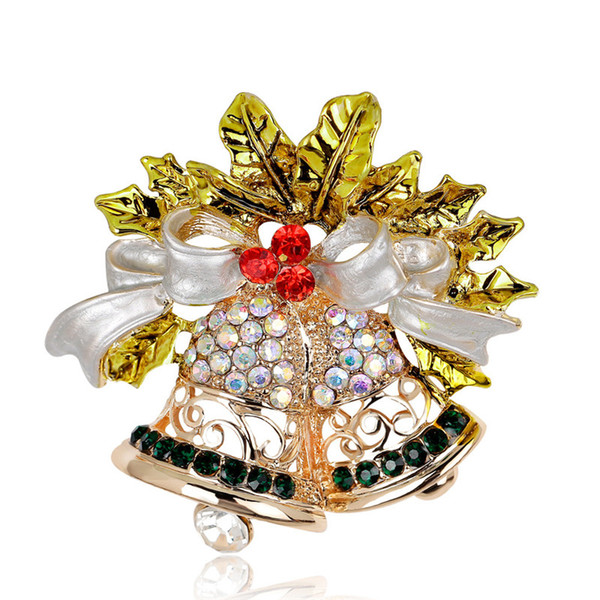 Clothing Christmas Rhinestone Bow Bell Brooch Jewelry For Women Girls Party Gifts Fashion Scarf Pin Brooches DB
