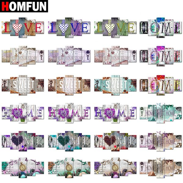 """HOMFUN 5pcs Full Square/Round Drill 5D DIY Diamond Painting """"Home Sweet Home"""" Multi-picture Combination Embroidery Mosaic Decor Y18102009"""