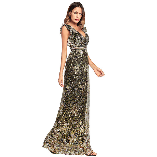 Women Long Dress Floral Print Summer 2018 Elegant V Neck Backless Ladies Gown Evening Party Club Holiady Casual Clothing Maxi Dresses