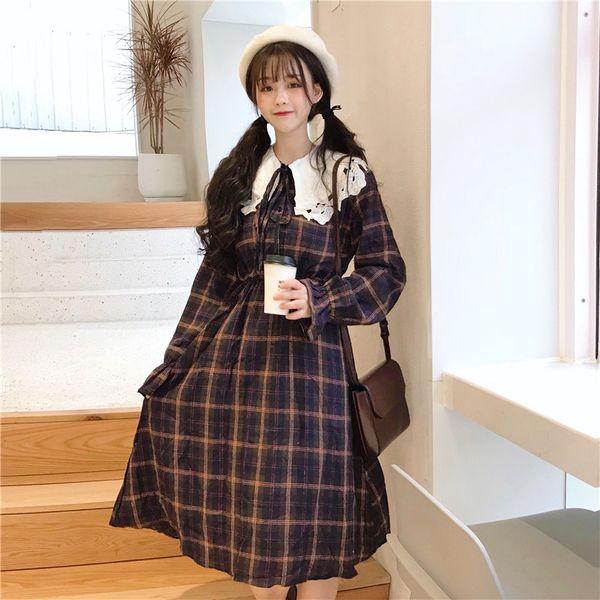 Acheter Japonais Harajuku Femmes Lolita Style Robe Peter Pan Colé à Carreaux Vintage Mujer Robes Dentelle Doux Mignon Kawaii Parti Longue Robe De