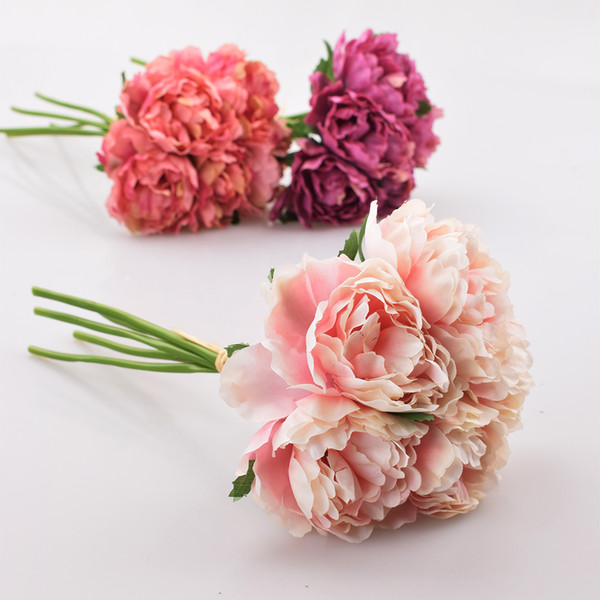 Artificial Flower Hydrangea 5 Heads Peony Bridal Bouquet Silk Flower For wedding Valentine's Day Party home DIY Decoration