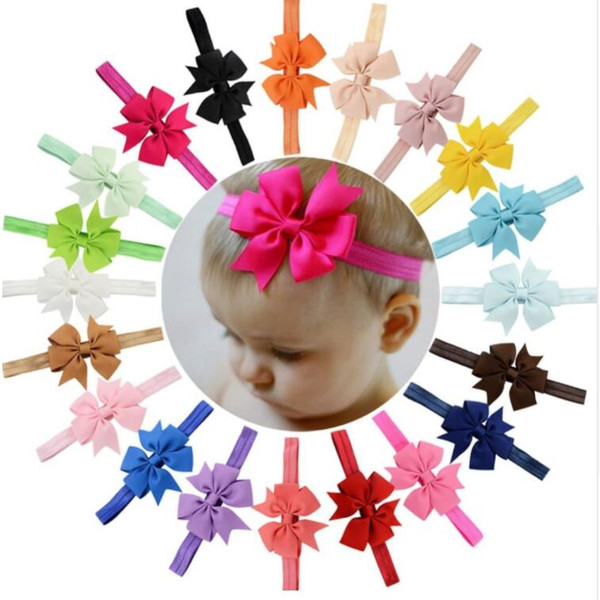 3 Inch 20Pcs/lot lovely Elegant Bow Headband Hair Bands hair accessories Solid Color Hair Accessories For Kids
