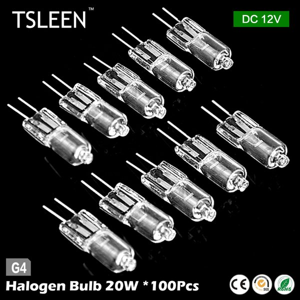 TSLEEN 100Pcs Halogen JC Type Light Bulb Lamp G4 Base 20W 12V