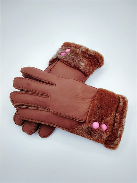 2018 New Women's Winter Frost protection wind protection Fashion Wool Gloves Leather Gloves Warm Gloves