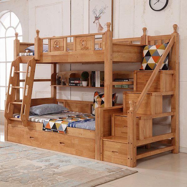 All rubber wood children's double bunk bed high bed adult double dormitory step multi-functional mother bed