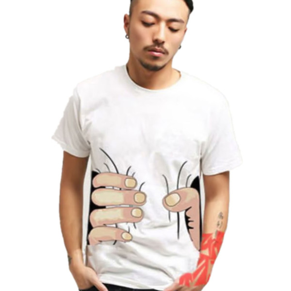 Hot Summer Brand New Men 3D Big Hand Short Sleeve Cotton T Shirt Breathable O Neck Fashion Tops Tee Funny Tshirt homme Cheap F05