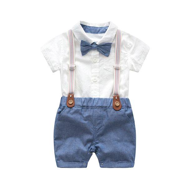Bebek Erkek Yay Resmi Romper Giysileri Beyefendi Parti Takım Elbise Yumuşak Pamuk Katı Tulum + Askı Pantolon Bebek Yürüyor Set