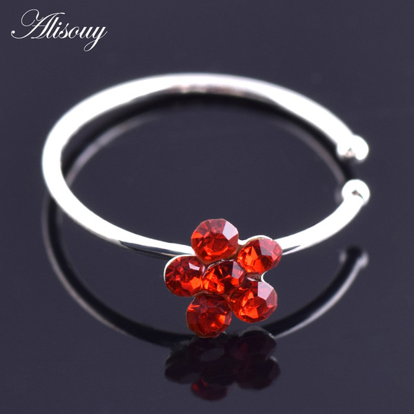Alisouy 1PC Fashion Piercing Nose Ring Indian Flower Nose Stud Hoop Septum Clicker Piercing Clip Rings Body Jewelry