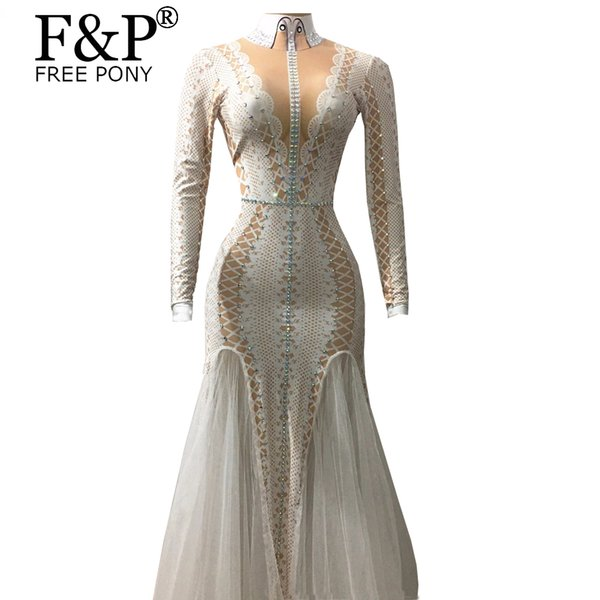 Crystals Evening Long Party Dress Runway Women Party Costume Stage Performance Wear Dance Singer Rhinestones Ladies Long Dresses