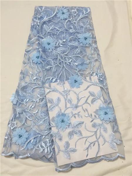 2018 venta caliente azul bordado granos africanos tela de encaje de alta calidad con 3d flor francés neto telas de encaje guipur