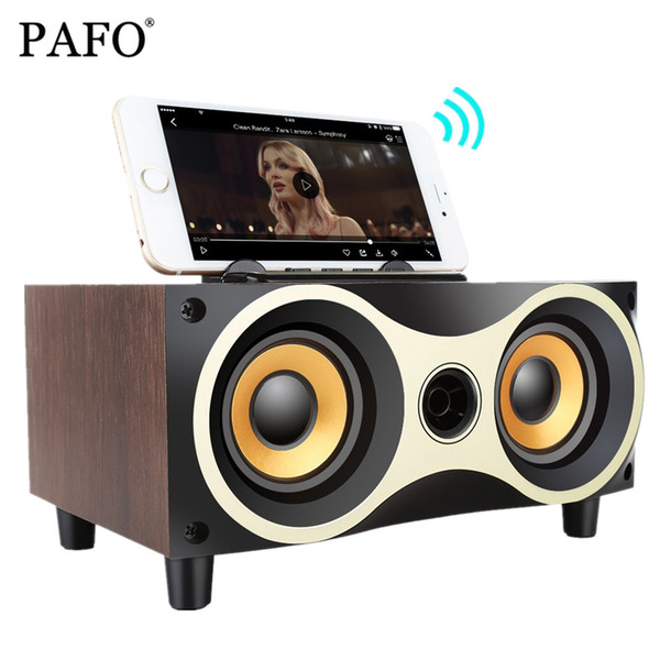 PAFO Portable Wooden Wireless Speaker Subwoofer Stero Bluetooth Speakers Radio FM Desktop caixa de som for iPhone Android