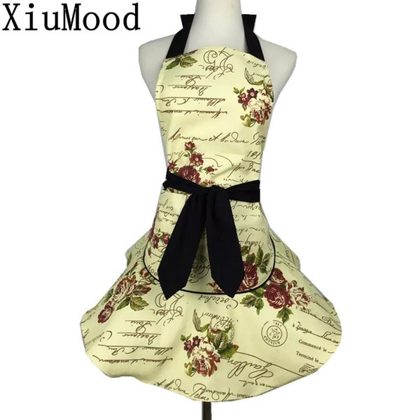 XiuMood Apron Kichen Accessories Cooking Aprons For Adult Woman BBQ Restaurant Waitress Cotton Canvas With Pocket Pinafore