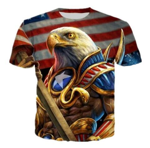 New Funny 3D T-Shirt Men Women Capetian America Eagle Bird USA Flag Print Style T Shirts Summer Short Sleeve Tops Clothing Tees