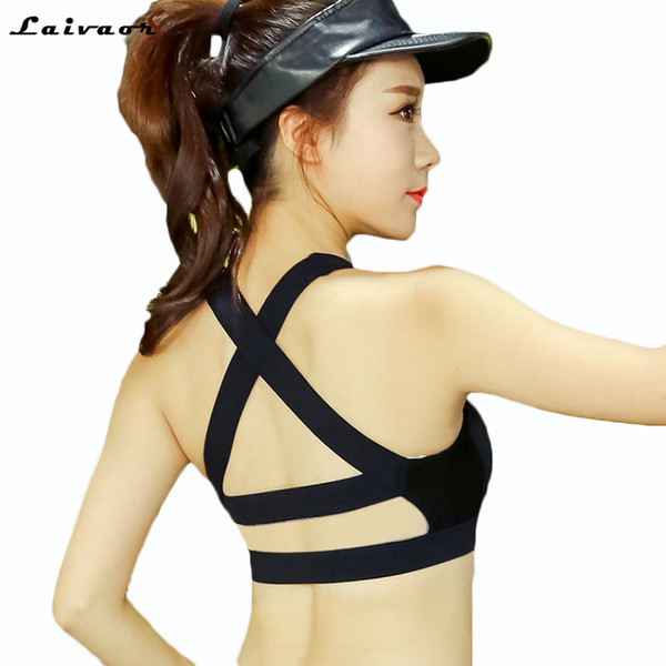 25c7a3cf09961 Laivaors Fitness Bras Cross Strap Black Yoga Bra Women Padded Push Up  Sports Bra Quick Dry Fitted Gym Workout Crop Top Bras 4XL