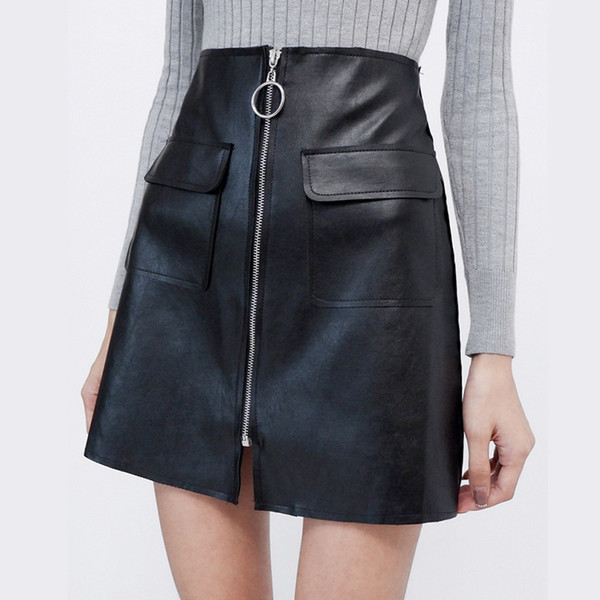 qooth 2018 plain faux leather skirt black mid waist zip front pu skirt women elegant sheath above knee mini qh1581