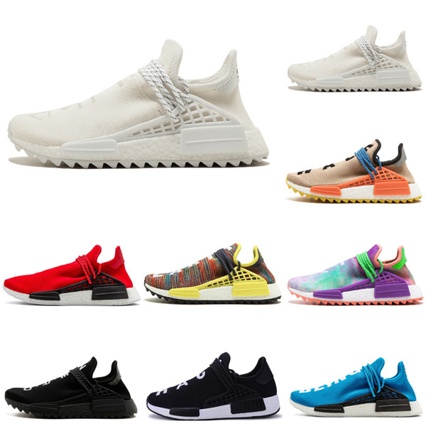 Acheter Adidas NMD Human Race Hommes Chaussures De Course Pharrell Jaune Noir Blanc Rouge Bleu Hommes Femmes Chaussures De Sport Sneakers Taille 36 47