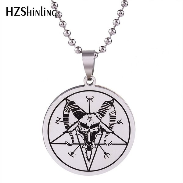 New Stainless Steel Baphomet Style Pendant Satanic Ritual Goat Necklace Trendy Men Women's Accessory Animal Necklace SS-004
