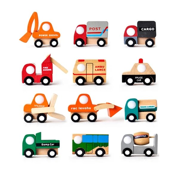 12pcs/lot traditional wooden toys wood Wrecker car vehicle