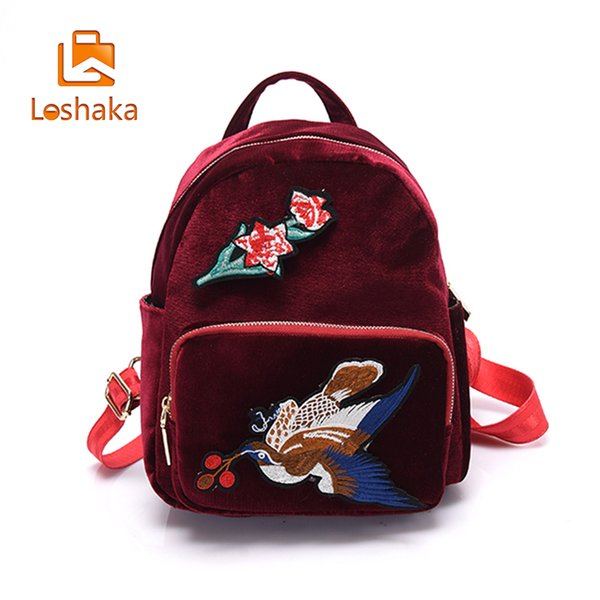 Loshaka Embroidery Backpack For Teenagers Vintage School Back Packs With Flowers Design Velour Leather Casual Backpacks For Lady