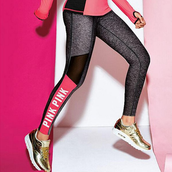 Mesh Splicing Women Leggings Push Up Bodybuilding Pants High Elasticity Letter PINK Patchwork Fitness Leggings Women Plus Size S18101502