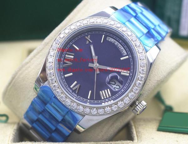 Fabrika Tedarikçisi Lüks Yüksek Kalite Saatı Safir Cam 41mm GÜNDÜZ-TARİH Mavi Dial Elmas Çerçeve Otomatik Mekanik Erkek Saatler