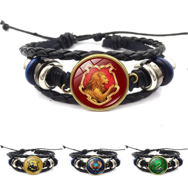 Harry Book Hogwarts Gryffindor Slytherin Hufflepuff Ravenclaw Badge Bracelets Multilayer Wrap Bracelet Glass Cabochon Jewelry KKA1882