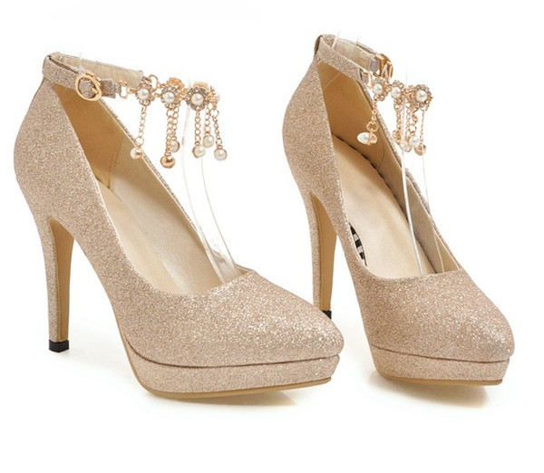 free shipping one word button sexy pointed toe sliver gold high heel 11cm platform diamond tassels dress shoes440