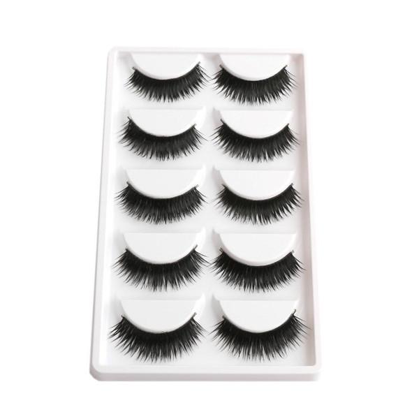 False EyeLashes 1 Box 5 Pairs Thick Black False Eyelashes Makeup Tips Natural Smoky Makeup Long Fake Eye Lashes