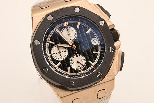 Top class luxury classic royal quartz flyback chronometer black octagonal frame black embossed dial 43mm sapphire glass mirror men's watch.