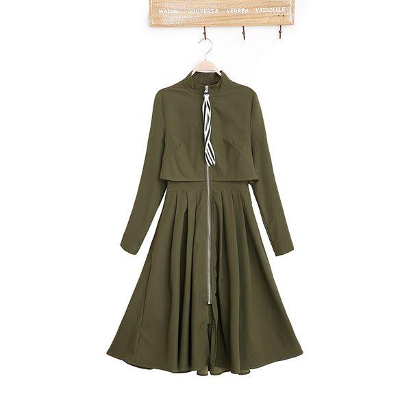 2017 autumn fashion new style korean women fall coats casual slim female turtleneck full sleeve cardigan a line trench cuat