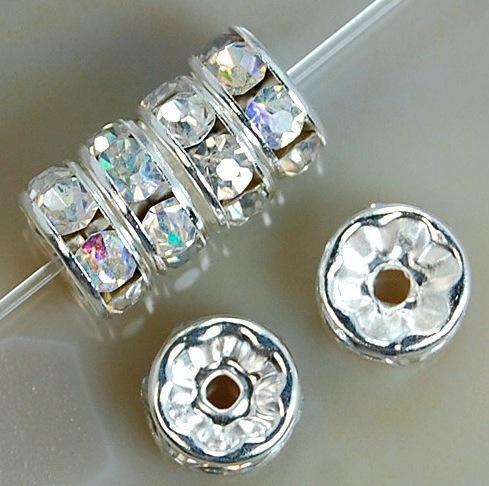 Temizle AB 200 adet / grup Gümüş Kaplama Rhinestone Kristal Yuvarlak Boncuk Paspayı Boncuk 6mm 8mm 10mm Çek Kristal boncuk