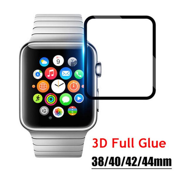 Pegamento completo 3D vidrio templado para Apple Watch iwatch 1/2/3/4 38mm 42mm 40mm 44mm Negro Protector de pantalla de cine con paquete al por menor