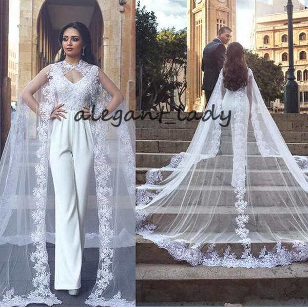 Dubai Lace Bridal Pants 2018 Vintage Wear V Neck Sleeveless Long cape Wraps garden church Wedding jumpsuit Dresses Novia Gowns