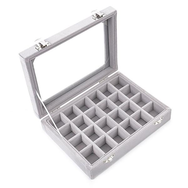 Grey 24 Slot Velvet Glass Jewelry Box Organizer Rings Earrings Tray Display Storage Case