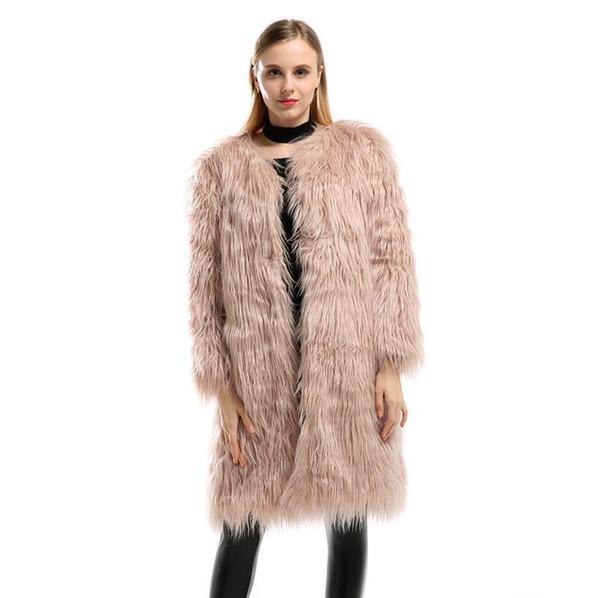 Inverno 2018 Mulheres de Alta Qualidade Casaco De Pele Do Falso De Luxo Quente De Pelúcia Extra Longo Casaco De Grandes Dimensões Casaco De Pele Artificial Das Mulheres Outwear