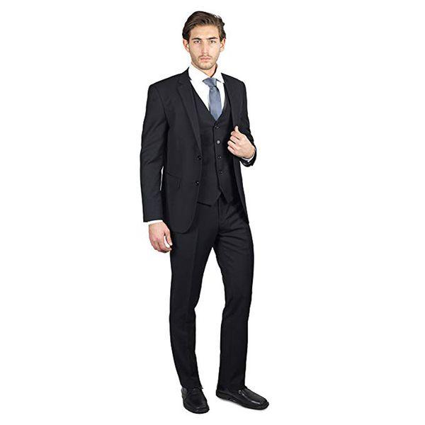 Black Men Suits Formal Business Suits Wedding Groom Tuxedos Groomsmen Blazers 3 Pieces Jacket Pants Vest Two-Button