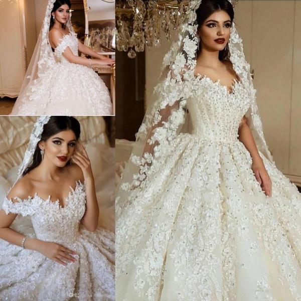 Impresionantes apliques de encaje de lujo 3D Beads lentejuelas vestidos de novia Formales de vestido de bola de Dubai árabe saudita de hombro Vestidos de novia