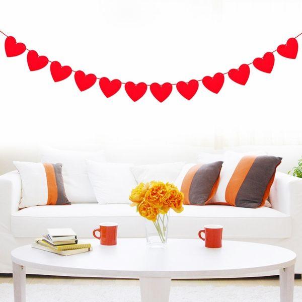 Décoration de guirlande rouge non tissée de coeur d'amour de coeur pour la chambre de mariage de mariage Club de jour de Valentine