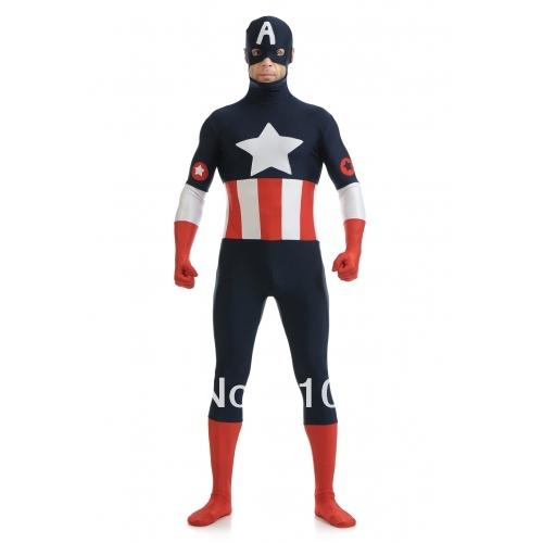 Captain America Superhero Costume lycra spandex Captain America Superhero Costume party show costume